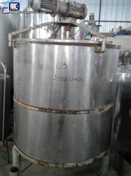 Stainless steel 1000 L storage tank with agitator